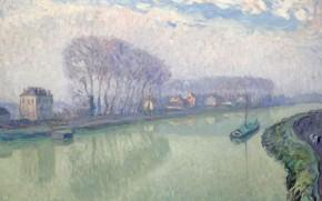 Картинка пейзаж, река, картина, Henri Lebasque, Анри Лебаск, Марна в Помпоне