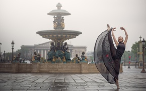 Обои настроение, Франция, Париж, танец, фонтан, балерина, Johanna Lorand Guilbert