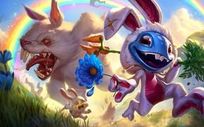 Картинка Игра, Цветок, Кролик, Улыбка, Радуга, Зубы, Костюм, Злой, Rainbow, Flower, Mad, Smile, Game, League of …