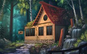 Обои березки, водопад, деревянный домик, коттедж, art, вывеска, в лесу, Yakovlev-vad, дорожка, сказка