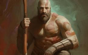 Картинка axe, demigod, armor, Kratos, God of War, man, hero, God, chest, powerful, strong, demi god, …