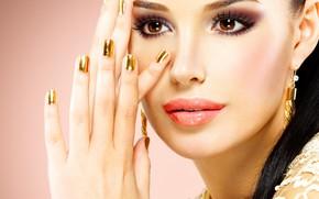 Картинка взгляд, девушка, лицо, руки, макияж, хвост, украшение, сережки, карие глаза, маникюр, Valua Vitaly