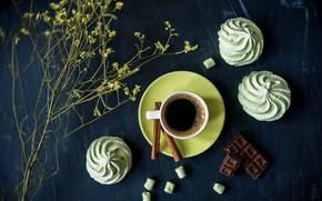 Обои зефир, шоколад, корица, кофе