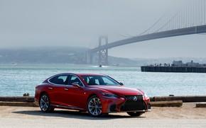 Картинка красный, мост, Lexus, LS 500, AWD SPORT