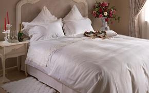 Картинка цветы, кровать, сердца, постель, шампанское, спальня