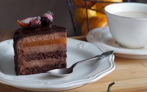 Картинка шоколад, чашка, торт, слои, кусок