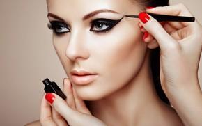 Картинка взгляд, девушка, лицо, стрелки, макияж