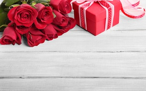 Картинка red, love, romantic, gift, roses, красные розы, valentine`s day
