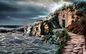 Картинка Море, Рисунок, Руины, Арт, Art, Sea, Ruins