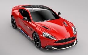 Картинка car, Aston Martin, red, logo, wings, speed, Arrow, Aston Martin Vanquish S Red Arrows Edition