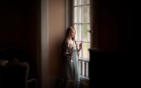 Картинка свечи, окно, девочка, childhood