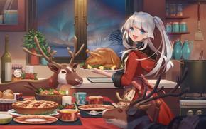Обои karesuki, олени, новый год, девушка, рождество, курица
