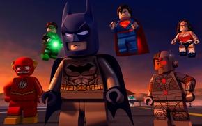 Обои Green Lantern, yuusha, mask, Justice League, animated movie, bat, DC Comics, animated film, Cyborg, Lego, ...