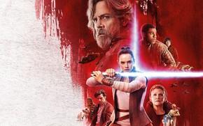 Обои постер, Oscar Isaac, Carrie Fisher, Звёздные войны: Последние джедаи, роботы, Star Wars: The Last Jedi, ...