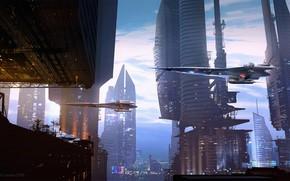 Картинка сооружения, Raphael Lacoste, летающие аппараты, Landing Scene