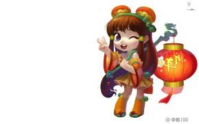 Картинка праздник, новый год, happy new year, арт. аниме, ZhongYuan 100, фонакрик