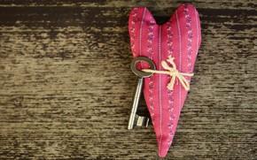 Картинка любовь, узор, сердце, ключ, ткань, доска, валентинка, сердечко, день святого валентина, праздники, день всех влюбленных, …