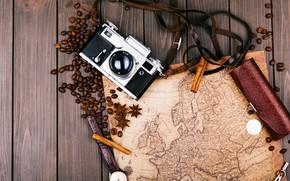 Картинка карта, Фотоаппарат, корица, кофейные зерна