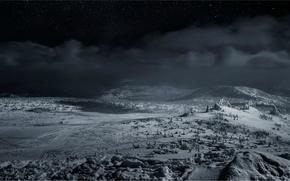 Картинка зима, снег, ночь, Шерегеш, Кемеровская область, Каларское нагорье