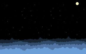 Картинка Небо, Облака, Минимализм, Ночь, Рисунок, Звезды, Луна, Арт