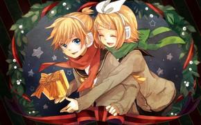 Картинка дети, подарок, новый год, двое, Vocaloid, Вокалоид, Кагомине Лен, Кагомине Рин