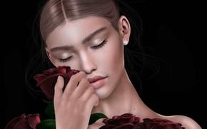 Обои букет, фон, розы, девушка, лицо