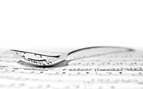 Картинка ноты, фон, ложка