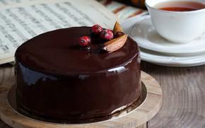 Картинка ягоды, чай, шоколад, торт