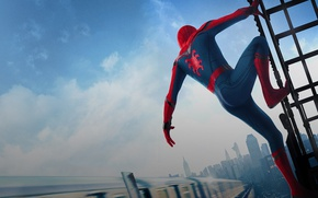 Картинка city, cinema, spider, logo, boy, Marvel, movie, Spider-man, hero, Boy, film, mask, Spiderman, uniform, yuusha, …