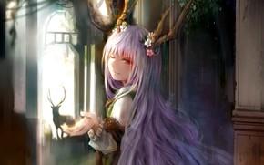 Картинка девушка, аниме, олень, арт, рога