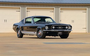 Картинка Ford Mustang, Black, 1967, Fastback, Classic car