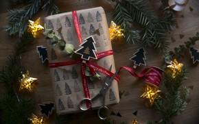 Картинка подарок, новый год, лента, бант, коробочка