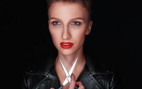 Картинка взгляд, лицо, стиль, модель, макияж, помада, чёрный фон, ножницы, Alexander Drobkov-Light, Ольга Шеронова