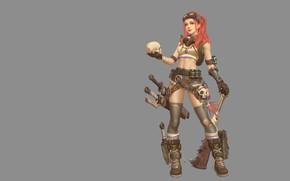 Обои девушка, оружие, череп, аниме, воин, арт, Jia Cai