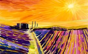 Картинка пейзаж, дом, поля, картина, Италия, лаванда, Тоскана, Лавандовые Поля в Провансе, Christian Seebauer