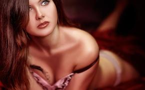 Картинка блеск, макияж, декольте, губки, Олеся Колесенина