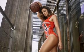 Обои Sylwia Nowak, beautiful, бёдра, грудь, попка, помещение, боди, sexy, баскетбольный мяч, мяч, поза, Daniel Koper, ...