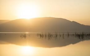Картинка свет, закат, озеро