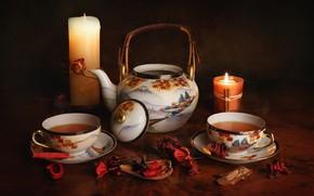 Картинка чай, свечи, чайник, чашки, полумрак