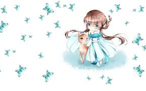 Картинка бабочка, аниме, олень, арт, девочка, малышка, детская