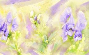 Картинка мазки, сиреневый, живопись, рисованные, аконит, фон, нежно, зеленый, картина, нарисованные, имитация акварели, цифровая, рисунок, пастельные …