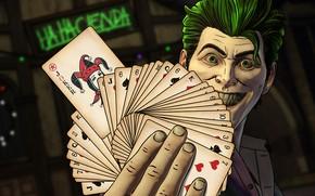 Картинка Игра, Взгляд, Карты, Улыбка, Джокер, Smile, Joker, Злодей, Game, DC Comics, Telltale Games, Look, Зеленые …