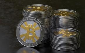 Обои макро, монеты, bitcoin, биткойн