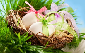 Картинка корзина, яйца, Пасха