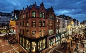 Обои shops, evening, houses, Dublin, buildings, streets, twilight, people, lights, city, palaces, Ireland