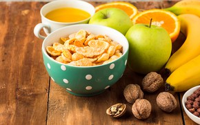 Картинка стол, яблоки, доски, апельсины, сок, бананы, чашка, фрукты, орехи, боке, мюсли, грецкие