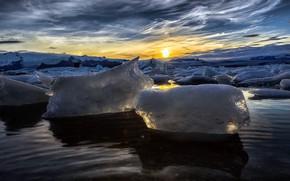 Картинка море, лёд, утро