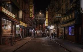 Картинка United States, night, New York, street, people, Chinatown, cityscape, shops, routine, everyday life, urban scene