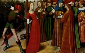 Картинка Миниатюра, Жанну привязывают к столбу, XV века