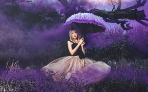 Картинка девушка, дым, зонт